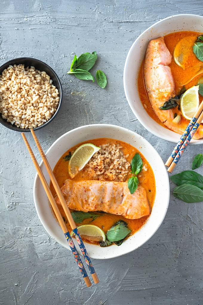 salmon curry in two bowls