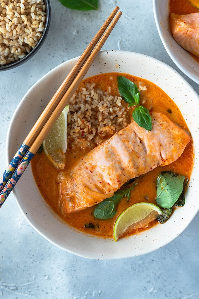 salmon curry in bowl