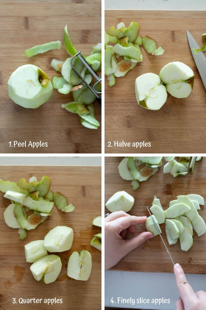 step by step process on how to peel and slice apples