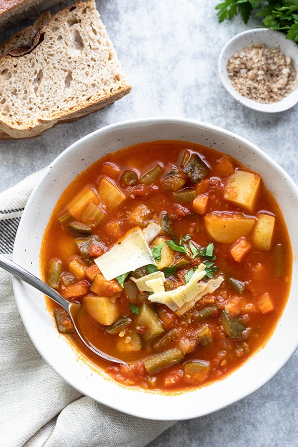 easy minestrone soup in large white bowl