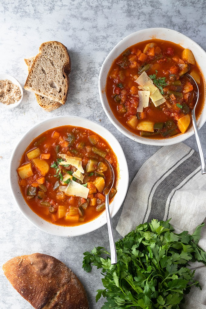 two bowls of minestrone soup