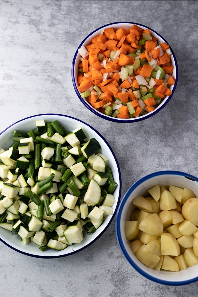 vegetables in small bowls together
