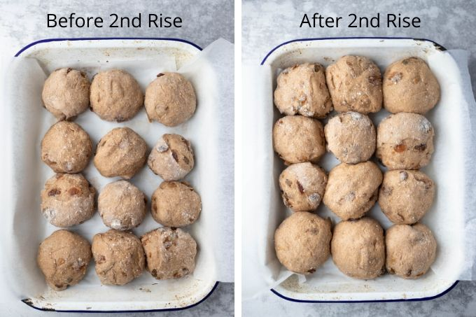 hot cross buns recipe process before and after second rise