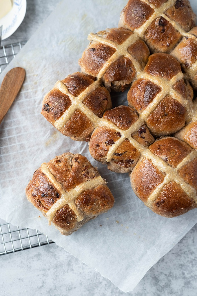 hot cross buns over head with parchment paper