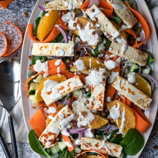 haloumi salad on large platter