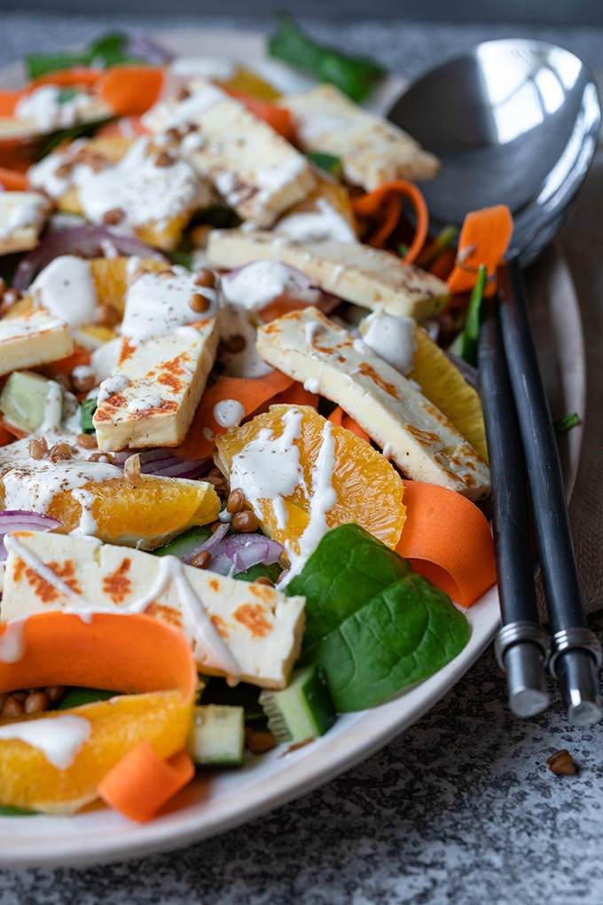 close up of haloumi salad on platter