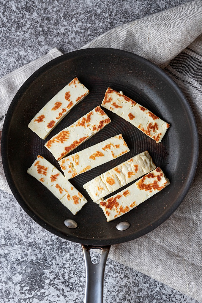 cooked haloumi in small pan