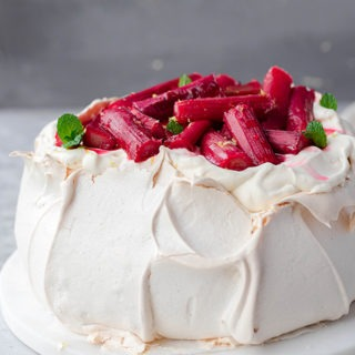 Christmas pavlova on white marble board