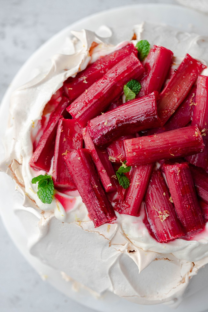 close up of rhubarb on Christmas pavlova