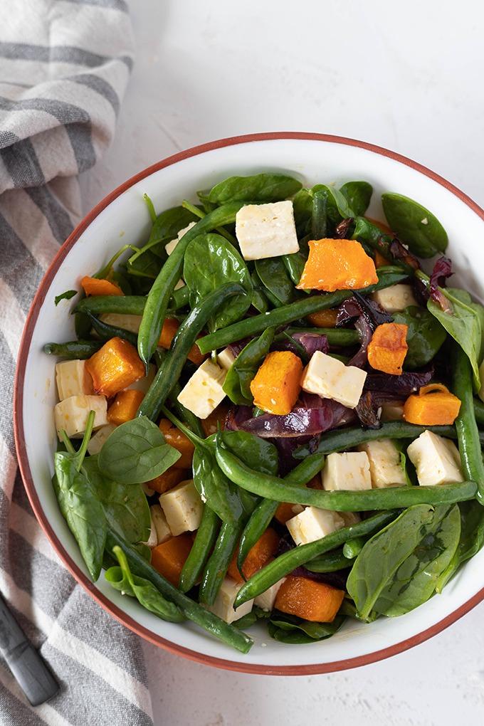 roast pumpkin salad in bowl