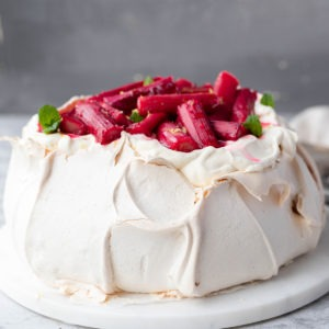 rhubarb pavlova on white board
