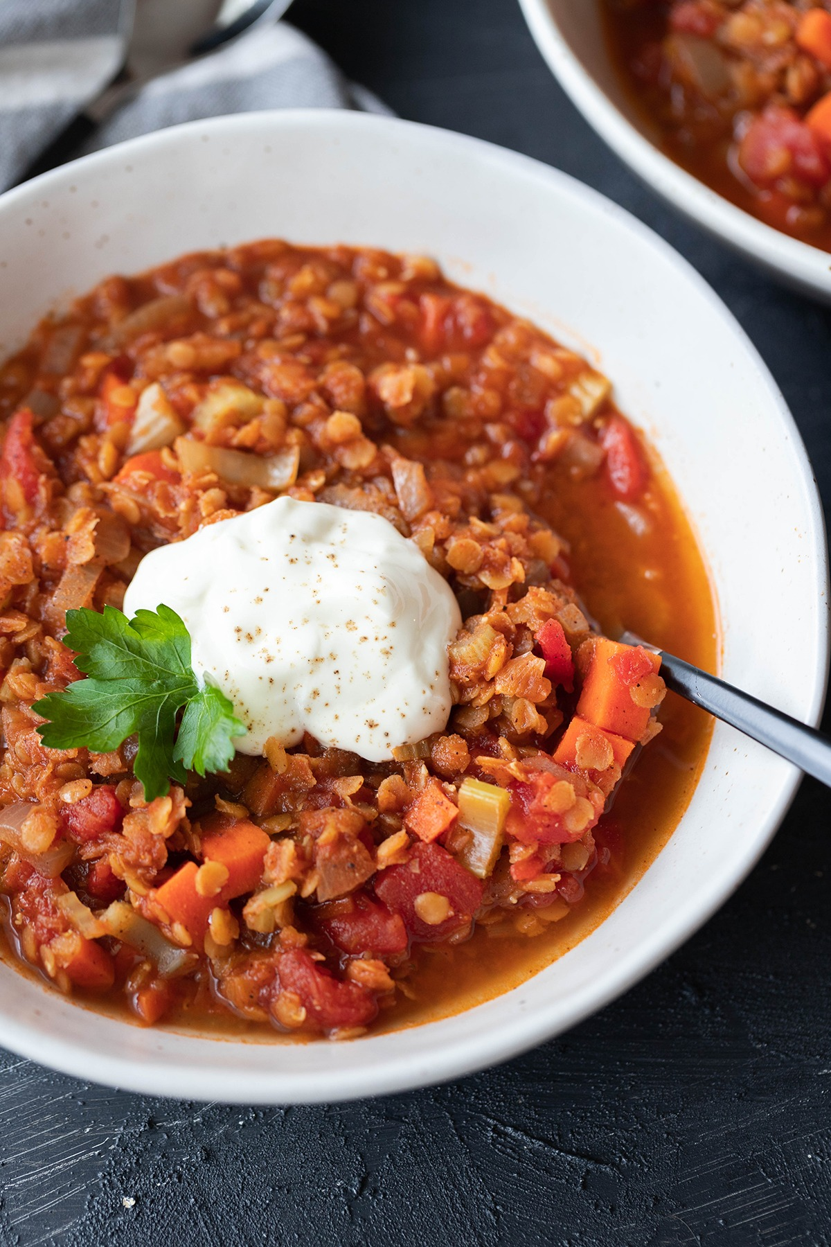 spicy lentil soup in white bowl with spoon