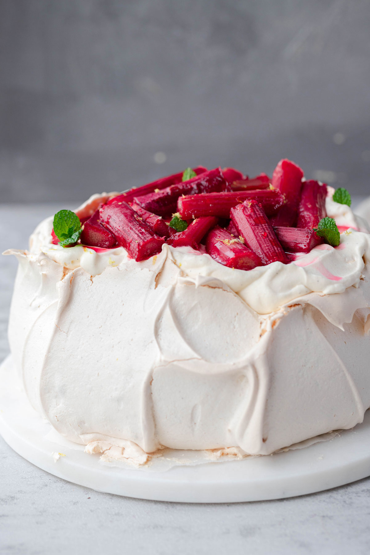 front view of winter pavlova on grey board
