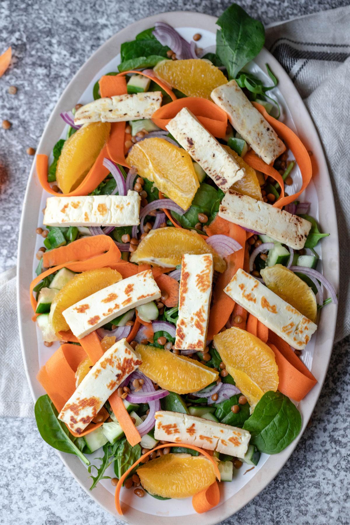 lentil hallloumi salad with no dressing