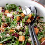 text at top of image of salad saying roast sweet potato salad