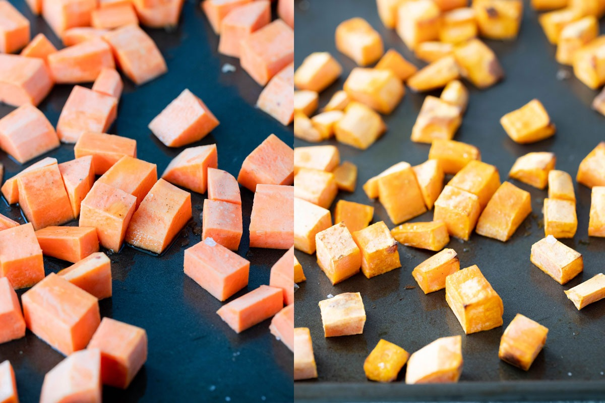 side by side images of raw and cooked sweet potato on tray